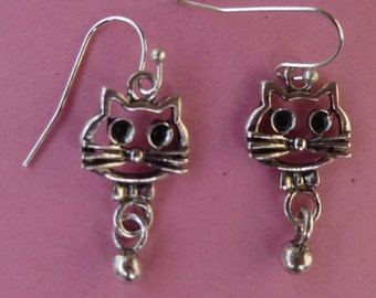 Cat Dangles with Silver Bead Dangle Earrings