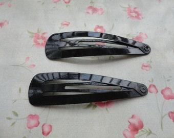 30pcs black metal Snap Clip--metal hair snap clip--55x15mm--HA3006-30