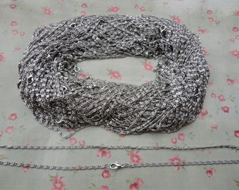 30pcs--2.0mm width--17 inches Silver Gray Metal Link Necklace Chain--MN3073-30
