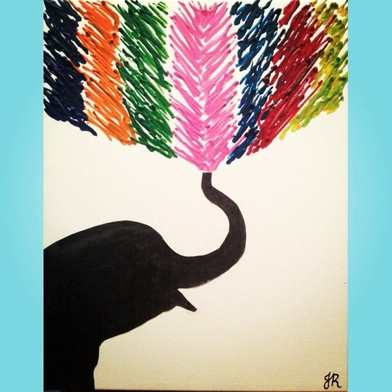 Elephant Melted Crayon Art Customizable 11x14 Inch Canvas