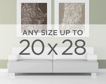 "20x28"" Cityscape Map Poster: Choose your City"
