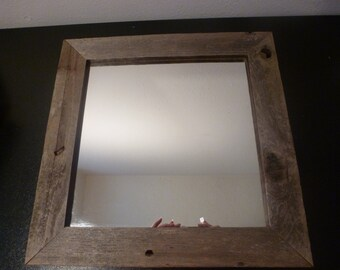 Vintage Rustic Barnwood Framed Mirror/Farmhouse/Wall Decoration/Reclaimed/Country Chic (#14036)