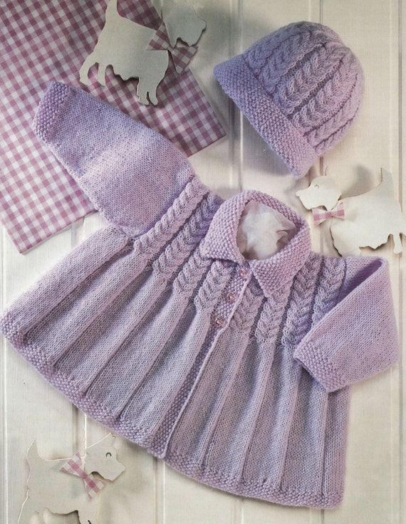 Baby Matinee Jacket and Beanie Hat in 4 ply yarn for sizes 16