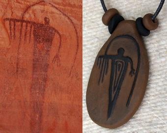 Primitive Fremont, Anasazi, Hopi, Moab -Rock Art Pictograph Clay Pendant - Rain Shaman