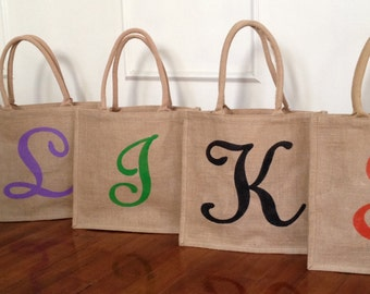 "15.5"" x 13.75"" x 6"" Personalized Burlap Totes, Swirly-Girly"