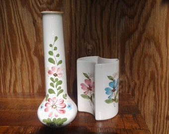 TWO Vintage 1980's FTD Handpainted Ceramic Vases, Made in Portugal, Rustic Wildlife Flower design