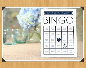 Printable Bridal Shower Bingo Game, 60 Cards in Set, DIY, Instant Download, Printable PDF, Navy Blue