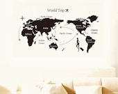 Giant World Map Art Wall Sticker Decal Removable Vinyl Home Decor Kids Nursery Room Baby Shower Birthday Gift Wall Mural Room Ideas 7225L