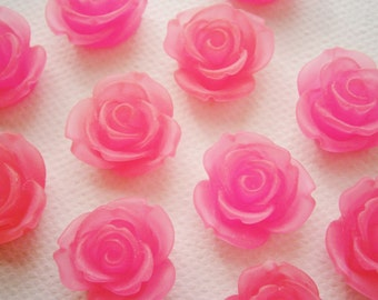 6 Large Frosted Pink Resin Rose Cabochons.
