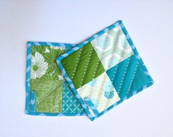 Modern Quilted Trivets, Modern Quilted Hot Pads, Quilted pot holders