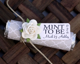 """100 Mint Wedding Favors with Personalized """"Mint to be"""" tag - Set of 100 favors, wedding white, elegant, tan, quatrefoil"""