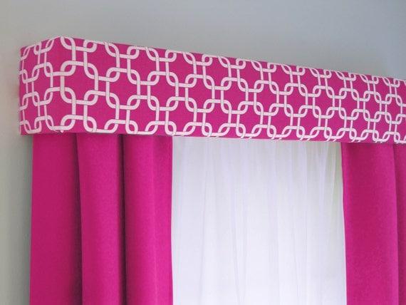 Hot Pink Geometric Cornice Board Valance Window Treatment