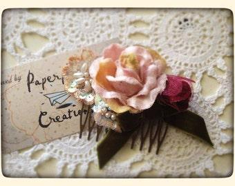 Victorian Pink Velvet Roses & Lace Hair slide/fascinator