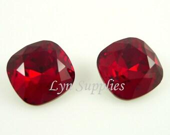 4470 SIAM 12mm Swarovski Crystal Foiled Back Square Cushion Cut Fancy Stone, Red July Birthstone