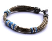 Cornflower blue, navy and nickel bracelet - Naryajewelry