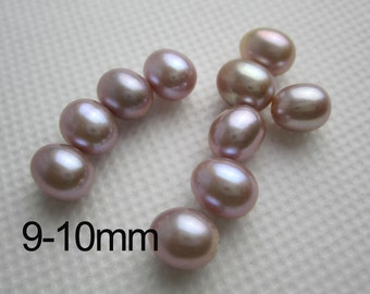 freshwater pearl rice pearl pair,purple lavender,half drilled wheat pearl ,loose pearl bead,real pearl earring material PL014