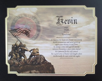 """Gift For Marine Personalized """"First Name Meaning"""" Father's Day Birthday Veterans Day Husband Dad Son Brother Military Marines"""