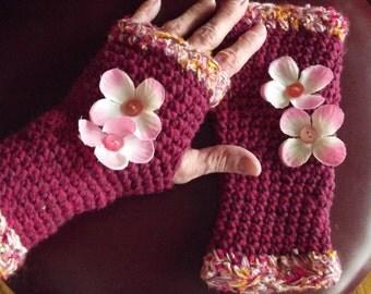 Crochet Fingerless Gloves, Texting Gloves, Pink, Maroon, Boho, Shabby Chic, Flower Embellished
