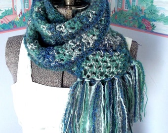 Alpine Snowstorm Scarf, Freeform Crochet, Soft Thick, Jade Green Dusky Blue, Gray White