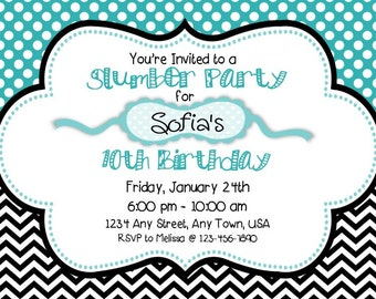 Slumber Party Invitation & Thank You Combo - Teal