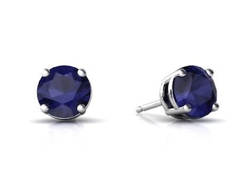 4MM 0.50 Carat Casting Round Blue Sapphire CZ 925 Sterling Silver Stud Post Earrings Basket Set September Birthstone