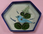 Tonala Mexico Art Pottery Blue Bird Floral Ken Edwards Hexagon Dish Plate Bowl