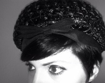 1960's Black Hat with Bow