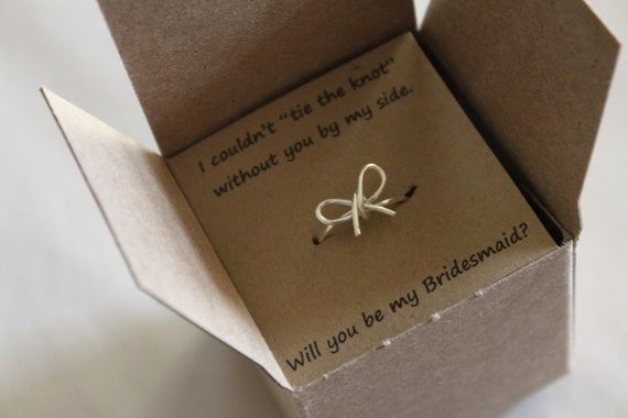 Bridesmaid Wedding Gift: Items Similar To Tie The Knot Ring, Will You Be My