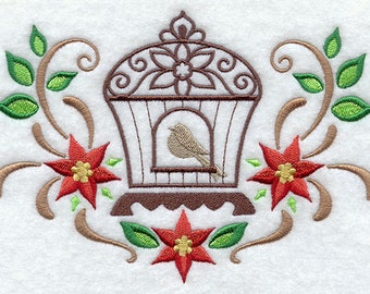 Ornate Christmas Birdcage with Poinsettias EMBROIDERED Pair of 15 x 25 inch hand towels for kitchen / bath