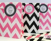 12 x Hen Night Party Paper Goodie Bags with personalised stickers - zig zig loot favours