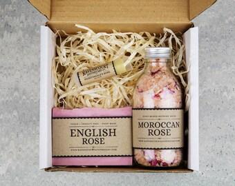 Rose Skincare Set - Gift For Her. Moroccan Rose Bathing Salts, English Rose Vegan Soap & Nightingale's Rose Lip Balm.