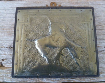 Wood and Punched Metal End of The Trail Wall Plaque
