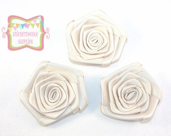 Light Beige Satin Rolled Rosette 3 Pieces #D106