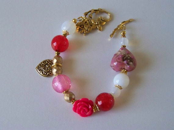 Red White Pink and Gold Crystal Bracelet