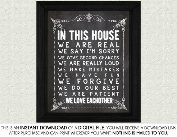 In This House Chalkboard Home Decor Print Art Home Decor