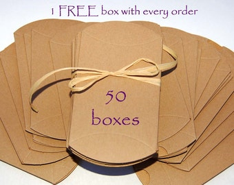 Pillow Boxes, Kraft pillow boxes, wedding favor boxes, jewelry boxes, packaging, set of 50