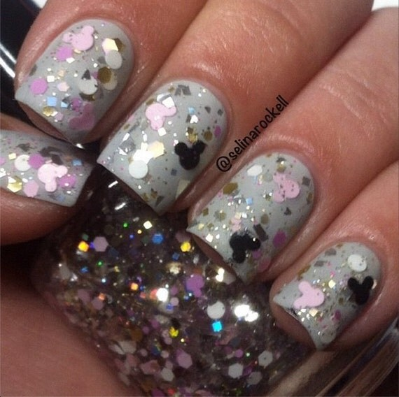 Mickey & Minnie: Glitter Topper Nail Polish Lacquer- Indie Nail Polish Custom Handmade- Mickey Mouse Nail Polish
