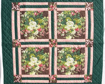 Hand Quilted Floral Green, Pink and Brown Wall Hanging
