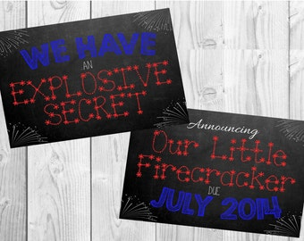 July 4th Pregnancy Announcement Chalkboard Photo Prop | Set of 2 Files | Size: 11x14 | *Digital File* | by MMasonDesigns