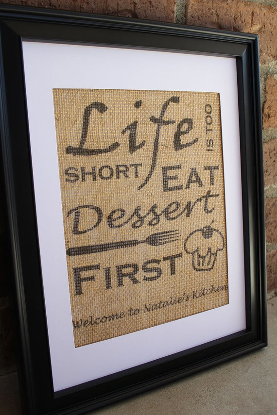 Burlap Kitchen Wall Art Eat Dessert First Burlap Print