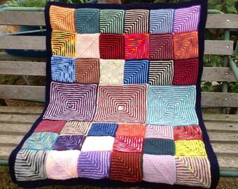 Handmade Knitted Geometric Blocks Baby Blanket