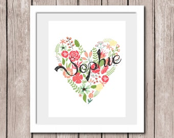 "PRINTABLE Personalized Wall Art Print - Floral Love Heart 8""x10"" Children Bedroom Decor"