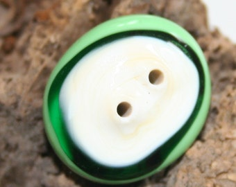 Green and White Button