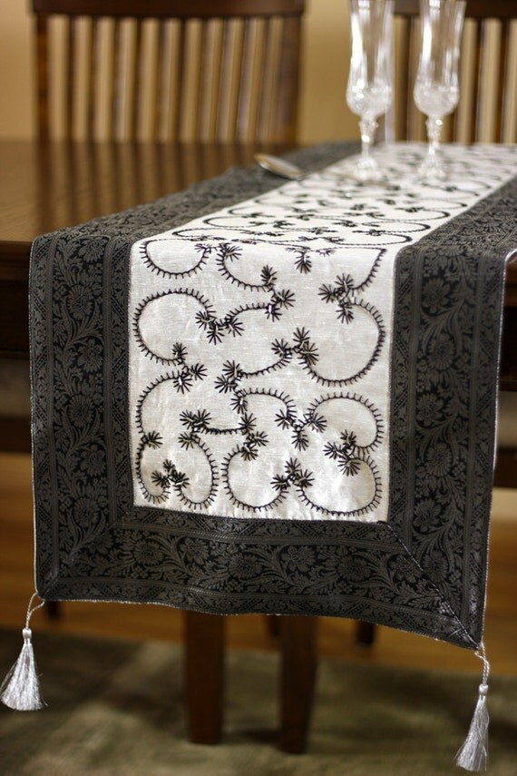 Hand embroidered 120 inch by 17 inch long table by for 120 inches table runner