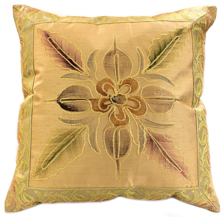 How To Make A Decorative Pillow By Hand : Hand Painted 16 X 16 Floral Throw Pillow Cover