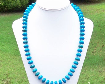 Penelope - Chunky Teal Blue Turquoise and White Rondel Gemstone Beaded Necklace