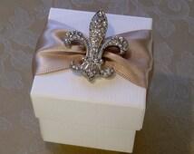 Fleur De Lis Diamante Decorated Wedding Favour. Bespoke. Various Colour Options.