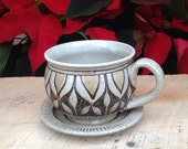 Teacup, tea cup, tea mug, stoneware cup, wood fired teacup, cup and saucer - KTJohnstonPottery