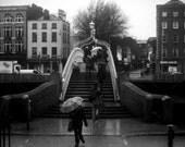Rainy Ha'Penny Art Print, Black and White Photography, Dublin's Ha'Penny bridge, wall art