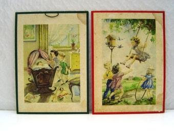 Set of two 1940s Dutch children's prints on cardboard by A.Kermer